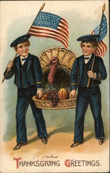 Two Soldier Boys Delivering Turkey in Basket