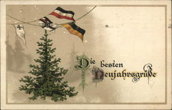 Pine Tree with Flag Pennants Above