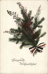Pine Tree Branch with Pine Cones and Red, White and Blue Bow