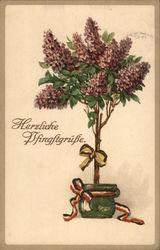 Herzliche Bfingltrgusse - Lilac tree with ribbons