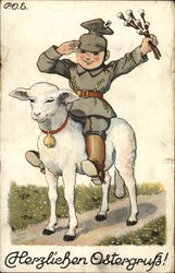 Herzlichen Ostergruss - boy in an army outfit riding a lamb and waving flowers