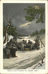 Gluck und Frieden im neuen Jahr! - soldiers in the snow at night