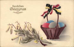 Herzlichen Ostergruss - basket of eggs with floweres