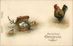 Herzlichen Ostergruss - chicks and rooster with basket of eggs