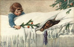 Girl offering a dog sleeping in bed an evergreen branch
