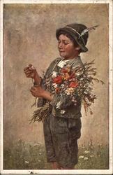 Older Male Child with Flowers Pulling Petals Off of Daisy Postcard