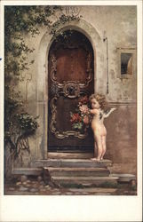 Cupid with flowers at the door