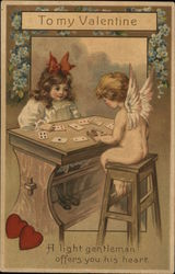 Little Girl and Cupid Playing Cards