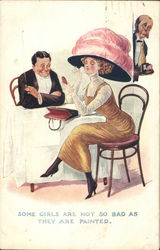 Some girls are not so bad as they are painted - woman applying makeup at a table Postcard