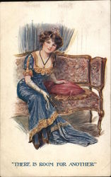 There is room for another - elegant woman sitting on a couch