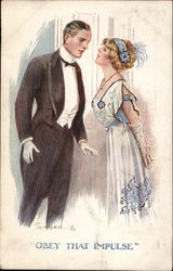 Young Woman and Young Man Dressed Up Leaning Toward Each Other