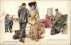 Woman in Dress and Hat is Greeted by a Suited Man as She Arrives with Trunk