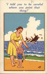 woman reprimanding a boy with a rifle while a ship sinks in the distance