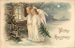 Merry Christmas! Angels looking in a window