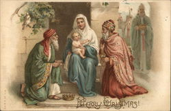 Merry Christmas! - two visitors with Madonna and child Postcard
