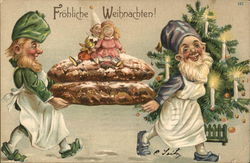 Frohliche Weihnachten! - elves carrying cookies