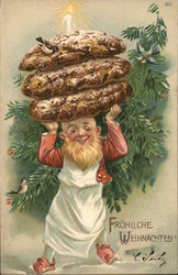 Small Bearded Man Holding Huge Sausages Above His Head
