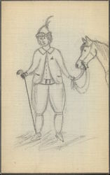 line drawing of man holding a horse