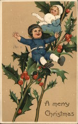 A Merry Christmas - children sitting on holly branches