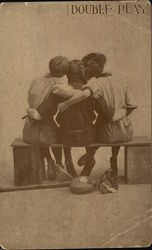 Double Play - two girls hugging a boy with baseball equipment