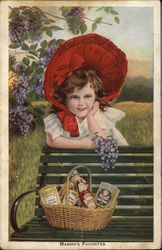 Mamma's Favorites - girl in red bonnet with flowers and Heinz products