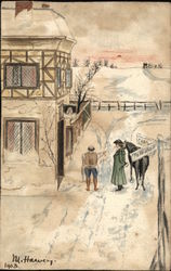 Snow-Covered Road Building with Two Men and a Horse