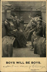 Boys will be boys- men smoking and chatting with women in a train car