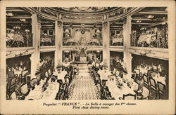 Wide View of Two-Story Decadent Ship Dining Room