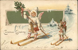 Christmas Greeting - child and rabbit skiing