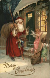 Merry Christmas - angel and Santa looking in a window