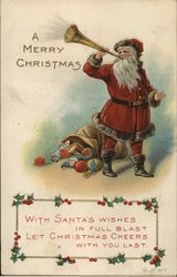 A Merry Christmas - Santa blowing a horn