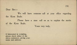 American Kron Scale Company Sales Call Card