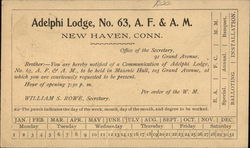 Notice of Meeting of Adelphi Lodge No. 63 A.F. & A.M., New Haven, Conn.