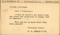 Typed Message From H.E. Harris & Co.