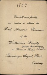 Invitation, First Annual Reunion of the Weatherwax Family