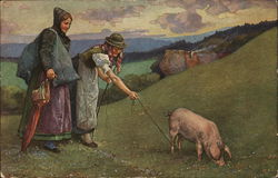 women taking a pig for a walk in the hills
