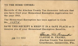 To the Home-Owner from the Alachua County Tax Assessor