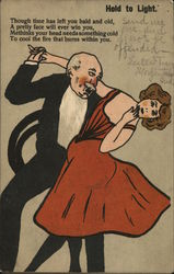 old man dancing with a lady in a red dress