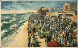 Crowded Boardwalk with Buildings on Right and Raging Sea on Left