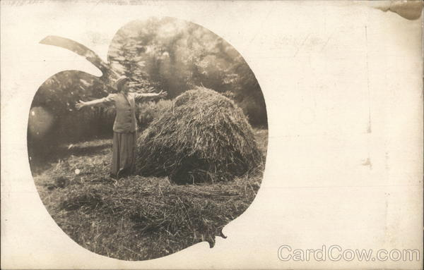 Woman Posing with a Pile of Straw Apple Vignette Women