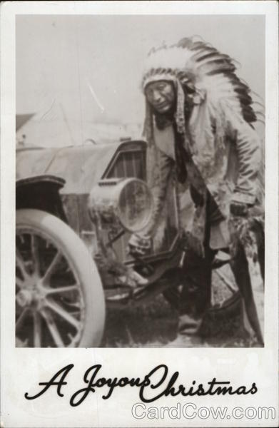 Indian Chief Posing in Front of a Car Native Americana