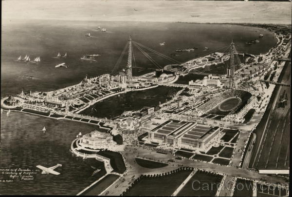 Aerial View of Century of Progress Exhibition 1933 Chicago World Fair