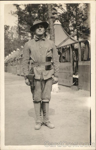 Soldier at Attention in Camp People in Uniform