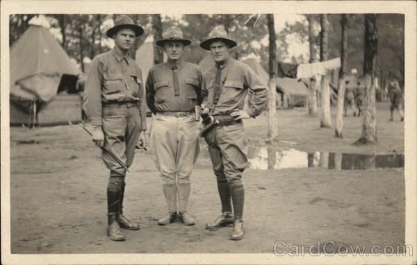 Three Soliders Posing in Camp People in Uniform