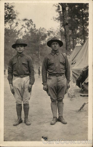 Two Soldiers Posing in Camp People in Uniform