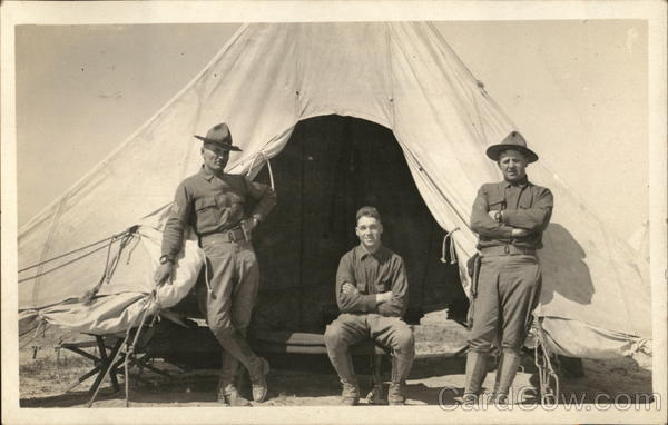 Soldiers Posing at the Entrance of a Tent People in Uniform