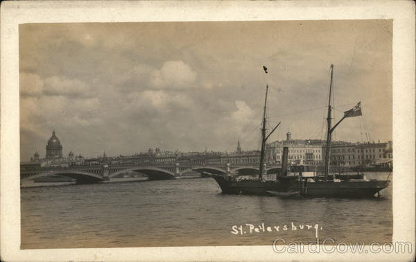 View of Bridge, Ship on Water St. Petersburg Russia
