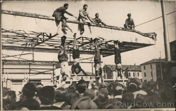 1945 Benito Mussolini, Claretta Petacci Hanging Milan Italy