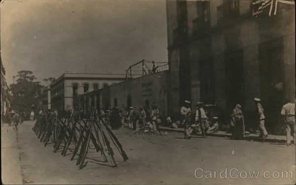 Rifles Leaning Against Each Other in the Street - Veracruz 1914 Mexico