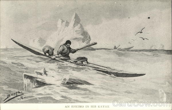 an Eskimo on his kayak Native Americana